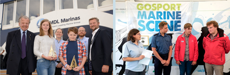 Southampton Boat Show: MDL Award Winners Lowri and Joe meet Lord Iliffe and Dean Smith from MDL; and Jack Dignan (right) talks to ASTO's Lucy Gross at a Gosport Marine Scene Reception