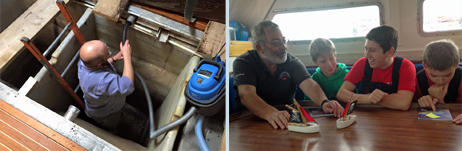 Chairman Richard in Prolific's bilge...while John Laing's crew learn about collision avoidance!