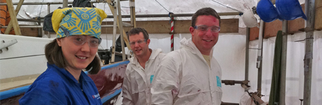 The International Paint team who kindly did the hull for us (having first donated all the paint) - many thanks!