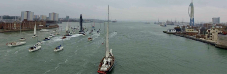 Prolific (foreground) escorting Alex Thomson into Gosport!