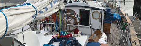 Refit nearing the end - gear being loaded back on board!