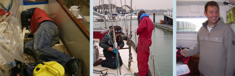 Bilges, rigging - and James ready to go outside and camouflage himself against the deck!