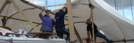 The refit tent comes down